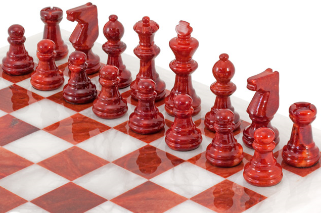 Red Alabaster Stone : The regency chess company marble sets