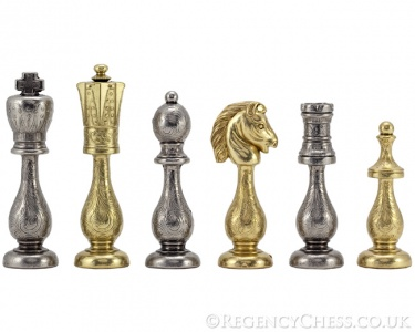 Maghreb Brass and Nickel Chess Pieces 4 Inches