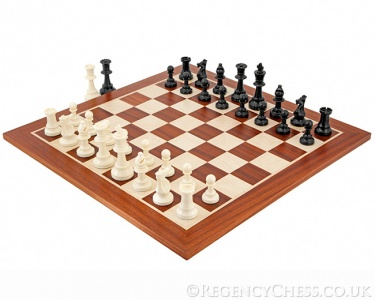 "Competition Staunton Chess Set 3.75"" King 19"" Mahogany Board"