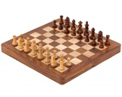 10 Inch Hardwood and Boxwood Magnetic Inlaid Chess Set