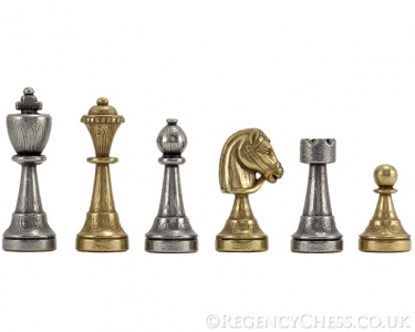 Finnesburg Series Brass and Nickel Chess Pieces 3 inches
