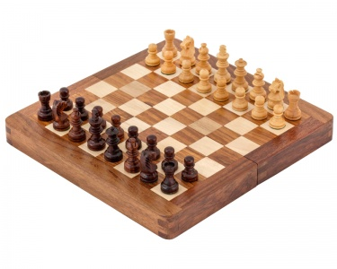 7.5 Inch Hardwood Magnetic Folding Chess Set
