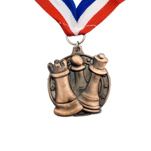 Bronze Coloured Chess Medal with Strap