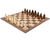 The Isle Of Lewis Walnut and Maple Large Chess Set