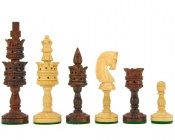 "Lotus Flowers Chess Pieces Rosewood 4.2"" King"