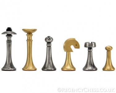 Metropolis Series 2.75 Inch Brass and Nickel Chess Pieces