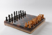 Brown & Black Alabaster Chess & Draughts with Inlaid Chest