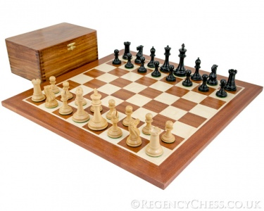 Old English Elite Ebony & Mahogany Chess Set