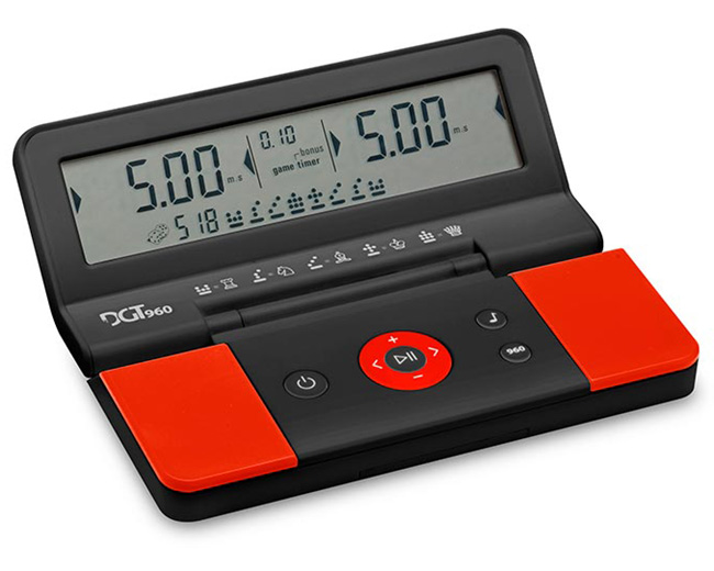 DGT 960 Compact Digital Chess Clock - Red Black